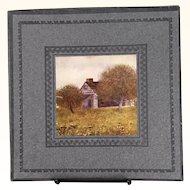 Handkerchief box with image of farmhouse plus hankies