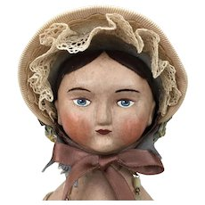 Papier mache and cloth artist doll by Lora Soling
