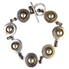 Vintage Sterling Silver and Brass Artisan Link Bracelet, Mexico