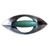 Kupittaan Kulta 925 Sterling Silver With Aventurine Modernist Brooch/Pin