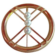 Kupittaan Kulta 14k Yellow Gold With Three Cultured Pearls Brooch/Pin