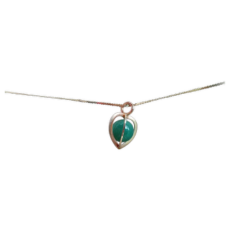 Kupittaan Kulta 14k Yellow Gold With Aventurine Heart Shaped Cage Pendant Necklace