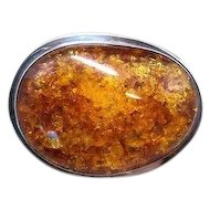 Extra Large Amber & Sterling Silver AKR Brooch/Pendant, Amy Kahn Russell