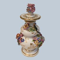 Antique French Jacob Petit Floral Encrusted Scent Bottle