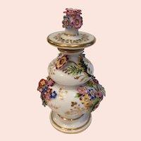 Antique French Jacob Petit Floral Encrusted Scent Bottle