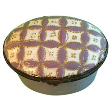 Antique Bilston Battersea Enamel Patch Box in Unusual Lilac