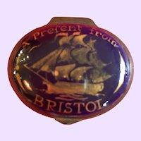 "Antique English Bilston Battersea Enamel Box ""Present From Bristol"""