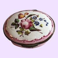 Marvelous Antique English Bilston Battersea Enamel Box Raised Floral Decoration