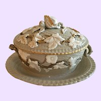 Marvelous Antique Covered Sauce Tureen with Applied Leaf Decoration
