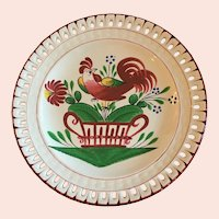 Charming French St. Clement Rooster Plate with Reticulated Edge