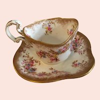 Exquisite Antique English Hammersley Demitasse Cup and Saucer