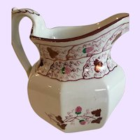 Antique English Pink Lustre Milk Jug with Strawberry Decoration
