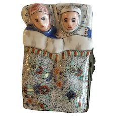 Charming Antique French Trinket Box with Sleeping Couple