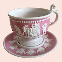Marvelous Antique Trembleuse Cup and Saucer with Classic Raised Accent