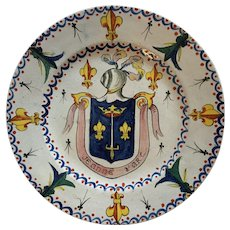 18th Century Antique French Faience Armorial Plate Joan of Arc