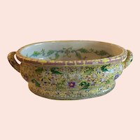Beautiful Vintage Chinese Foot Bath, Yellow Floral