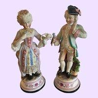 "Wonderful Pair of Continental Antique 13"" High Bisque Figurines"