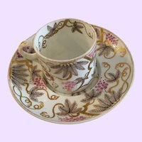 Antique English Coffee Cup with Trembleuse Saucer, Early 1800's