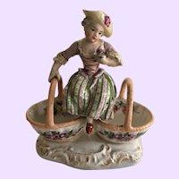 Antique Meissen Figurine, Darling Girl with Salts