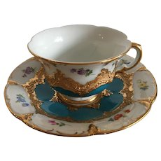 Antique Meissen Demitasse Cup and Saucer