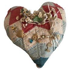Charming Patchwork Heart Pillow