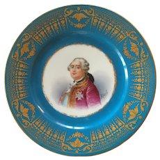 Antique Celeste Bleu Cabinet Plate Louis XVI Marked Sevres