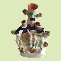 Antique English Staffordshire Spill Vase with Mother & Children