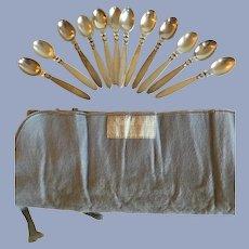 12 Georg Jensen Sterling Silver Coffee Spoons Cactus Pattern