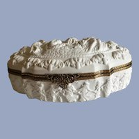 Massive Vintage French White Bisque Dresser Box with Classic Relief Decoration