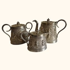 Antique Madras Indian Colonial Sterling Silver Tea Set