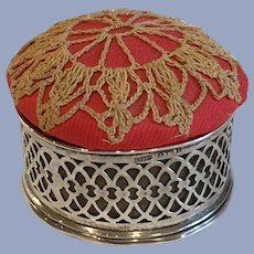 Antique Pincushion in English Sterling Silver Holder