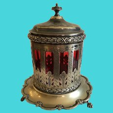 Antique English Silverplate Biscuit Jar with Cranberry Glass Insert