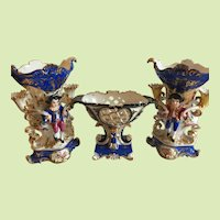 Antique French Jacob Petit 3 Piece Garniture
