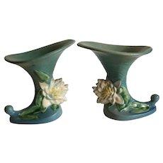 Pair of Retro Roseville Cornucopia Vases 177-6 Water Lily Blue