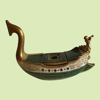 Marvelous Large French Old Paris Porcelain Ship Shaped Inkwell