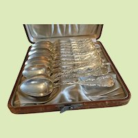 Set of 12 Antique Whiting Sterling Silver Teaspoons in Leather Case Louis XV