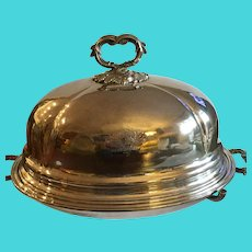 Marvelous Antique Silverplate Food Cover with Hot Water Base & Crest
