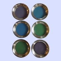 Mid Century Towle Sterling Silver and Enamel Coasters