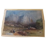 Antique European Genre Watercolor