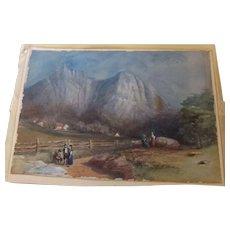 Antique European Genre Watercolor