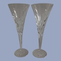 Pair of Waterford Crystal Lismore Toasting Champagne Flutes
