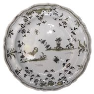 Antique 18th Century French Moustiers Tin Enamel Plate with Insects & Grotesque