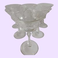 Set of Six Cambridge Glass Open Champagne Coupes Rose Point