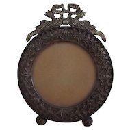 Marvelous Antique Brass Picture Frame with French Ribbon Flourish and Filigree Accent