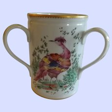 Rare Antique English Chelsea Porcelain Loving Cup with Bird Decoration