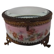 Charming 19th Century Porcelain, Glass, and Ormolu Box Casket