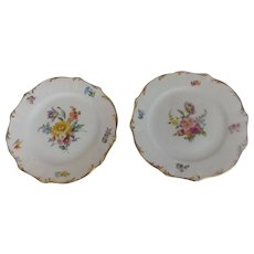 """Pair of Marked Meissen 6"""" Hand Painted Plates"""