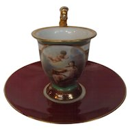 """Antique 18th Century Cabinet Cup and Saucer with Putti Angel and Early """"R"""" Saxe Mark"""