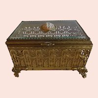 Marvelous Large Jewelry Casket with Cameo and Rose Accent
