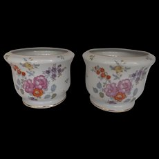 Pair of Porcelain Cachepots with Floral Decoration